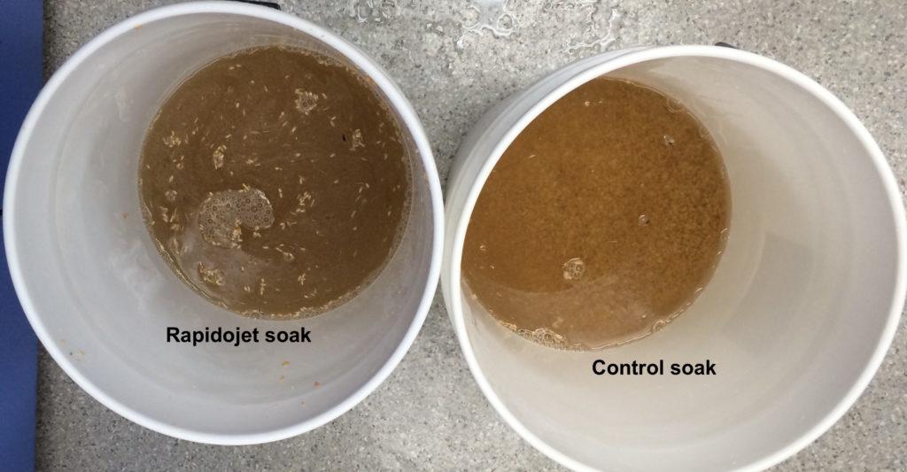 Washing grains with Rapidojet soak vs Control soak